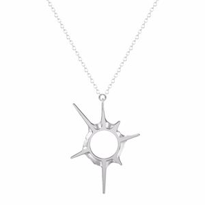 Jewelry - Silver Sci-Fi Solar Eclipse Pendant Edgy Necklace